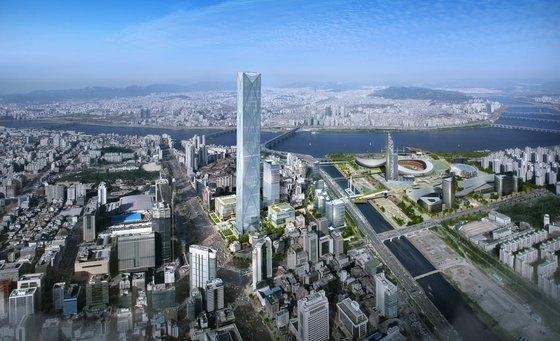 삼성동 무역센터 맞은편 한전부지에 현대차 신사옥이 계획 중인 569M 높이 105층의 GBC(글로벌비즈니스센터) 조감도 / 사진제공 서울시